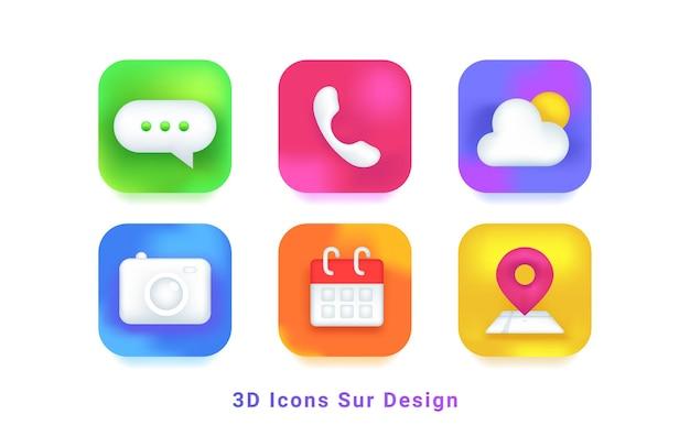 モバイルアプリのデザインシンボルの3dアイコン。チャット、電話、天気予報、カメラ、カレンダー、地図のリアルなアイコンセット、最新のモバイルアプリケーションとウェブ用の影付きのカラフルなグラデーション