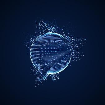 3d освещенная сфера светящихся частиц