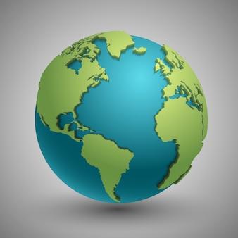 Земной шар с зелеными континентами. современная концепция карты мира 3d. зеленая планета с континентом illustra