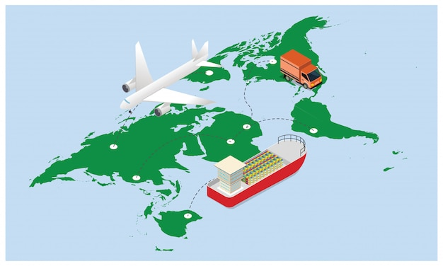 3d illustration of air cargo tracking.