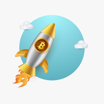 3d illustration of bitcoin rocket flying with clouds isolated