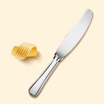 3d иллюстрации нож для масла и элементы масла завиток