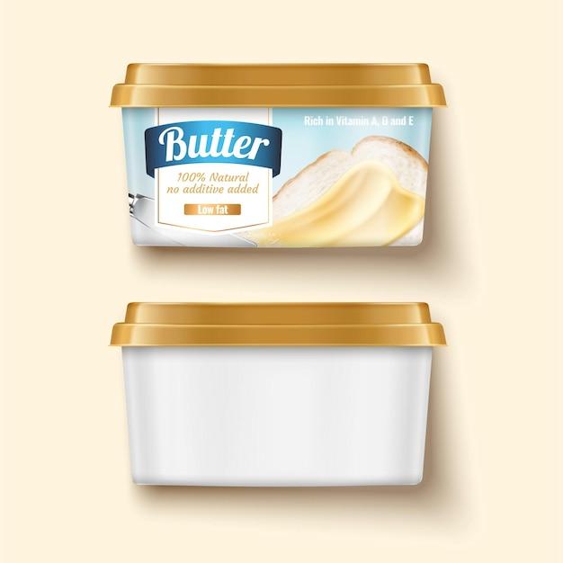 Коробка контейнера для сливочного масла 3d иллюстрации лежала на светло-желтом фоне