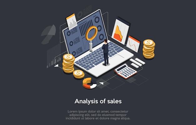 3d иллюстрации. мультфильм изометрические дизайн с инфографикой. концепт-арт анализа продаж