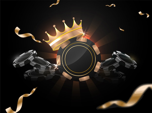 3d illustration of casino chips with award crown on black rays background decorated with golden confetti ribbon.