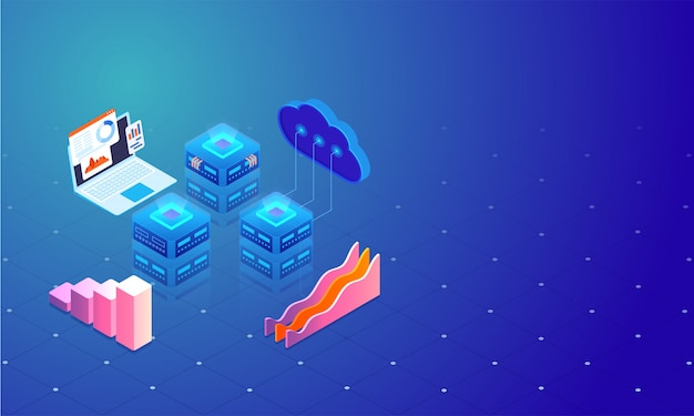 3d illustration of cloud server connect to local servers.