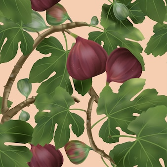 3d illustration common fig tree seamless pattern in coral background
