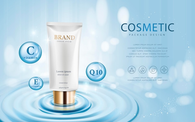 3d illustration cosmetic mockup upon water and isolated on bokeh background