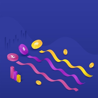 3d illustration of cryptocurrency coins with statistics waves, bar graph on blue background.