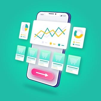 3 dイラストレーションeコマース分析オンラインショッピングモバイルアプリケーション