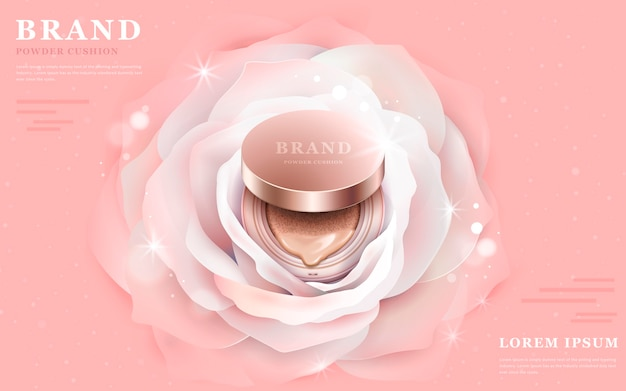 3d illustration foundation product in the central of a romantic white flower