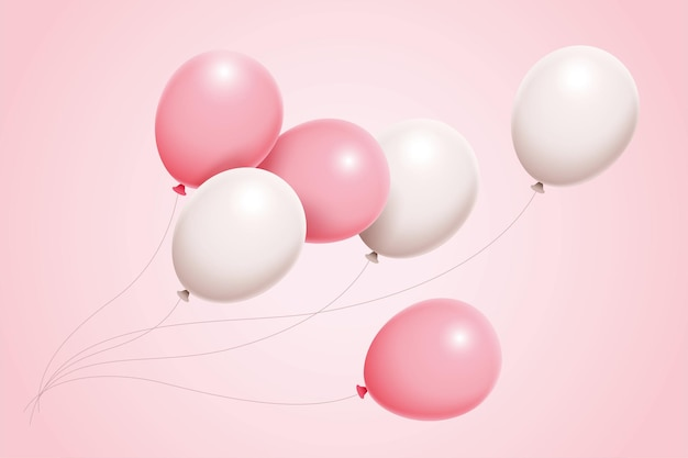 3d illustration gorgeous set of pink and white balloons float in air for birthday anniversary