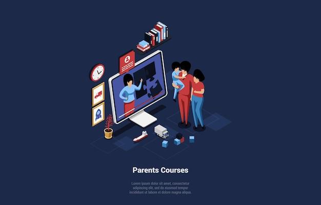 부모 온라인 과정 개념에 만화 스타일의 3d 일러스트