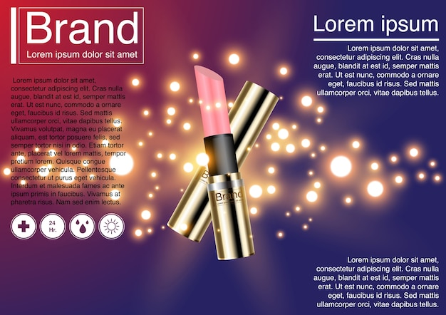 3d illustration lipstick and cosmetic ad concept.