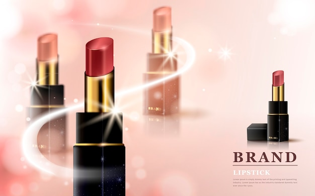 3d illustration lipstick in different color tones with sparkling effects, isolated on pink background