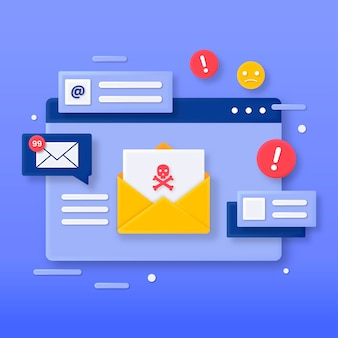 3d illustration of a malicious email concept