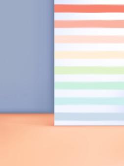 3 dイラストレーション最小限のパステルスタジオショットの背景に製品の表示のためのレインボーストライプパターン。