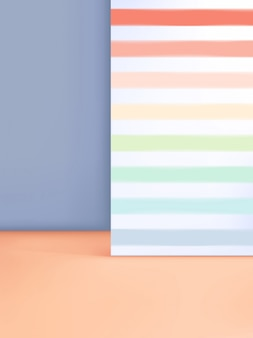 3d illustration minimal pastel studio shot background with rainbow stripe pattern for product display.