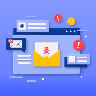 3d иллюстрации концепции вредоносной электронной почты