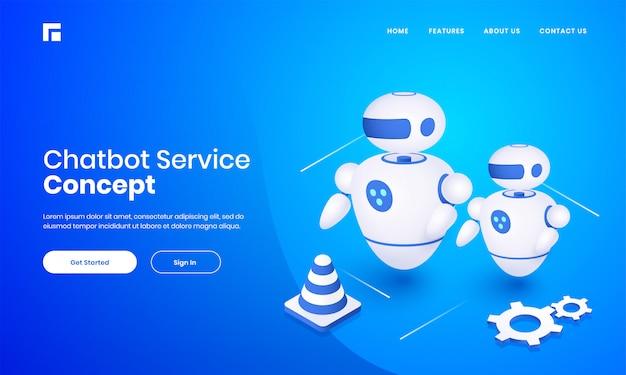 Chatbot 서비스 개념에 대 한 파란색 배경에 콘과 톱니 바퀴와 안드로이드 로봇의 3d 일러스트 기반 랜딩 페이지 디자인.