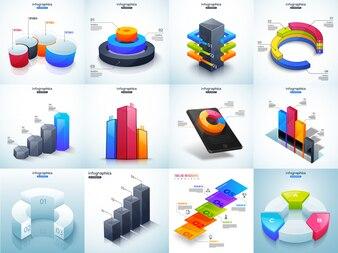 3D illustration of colorful Timeline Infographic set