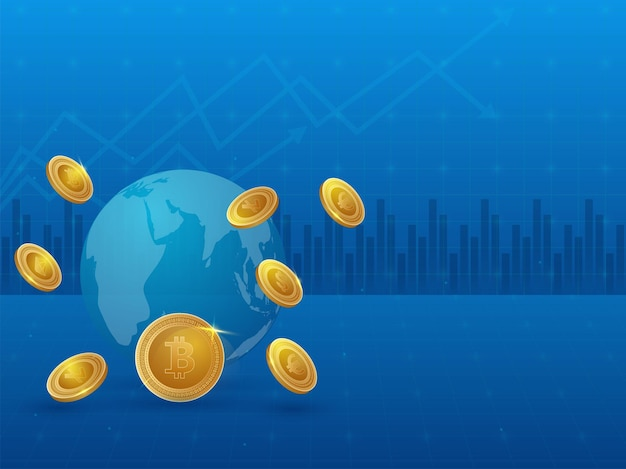 Cryptocurrency 개념에 대 한 파란색 통계 배경에 황금 동전과 지구 글로브의 3d 그림.