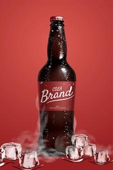 氷の上で冷やしている王冠で閉じた光沢のあるコーラボトルの3dイラスト