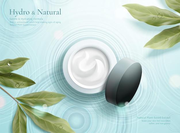ハーブ化粧品広告の3dイラストシンプルで自然なスキンケアの概念