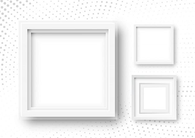 現実的な正方形のフレームの3 dイラストレーション。ハーフトーンの背景に白い空白の額縁モックアップテンプレート