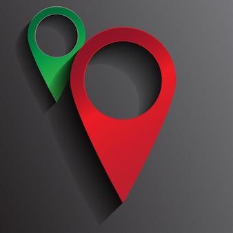 빨간 핀 위치 지도의 3d 그림입니다.