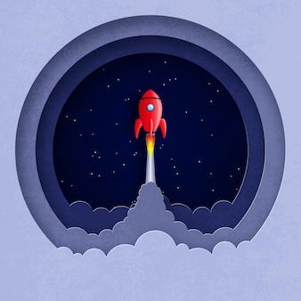 은하계 공간에서 비행하는 우주선의 3d 그림 종이 컷 스타일의 라운드 구성