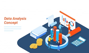 3D illustration of tiny business people maintain the data