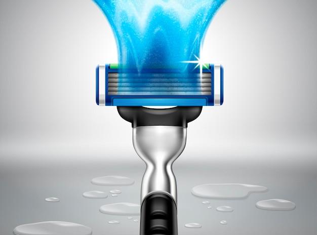 Бритва 3d иллюстрации с водянистым эффектом и прозрачной жидкостью