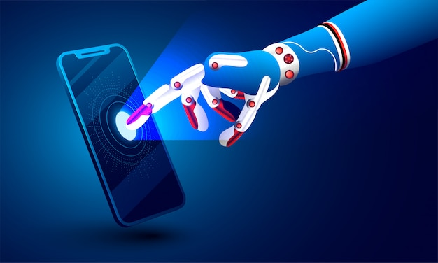 3d illustration of robotic hand clicking on smartphone.