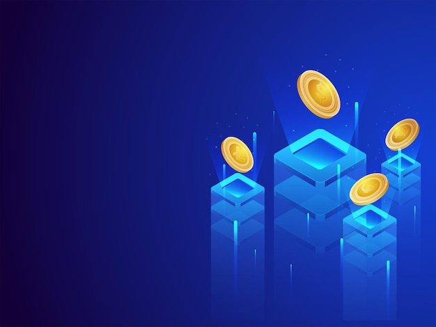 3d illustration of various type coins servers with digital rays on blue background.