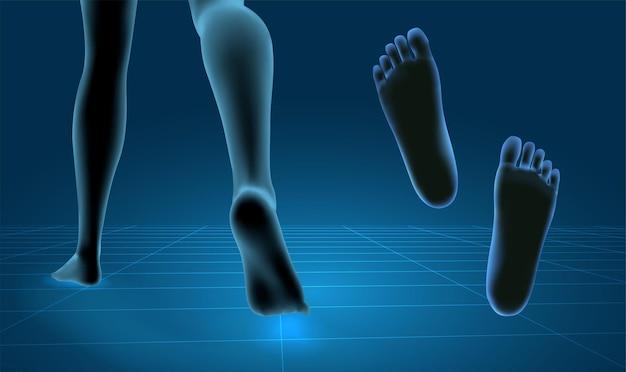 3d 그림, 벡터 발 볼륨, 건강 및 신발 선택