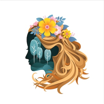 3d illustration with papercut woman face and forest
