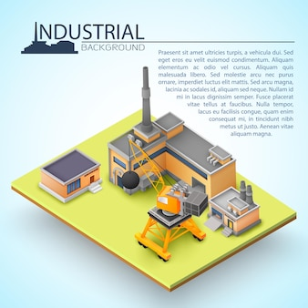 Concetto di edificio industriale 3d con operazioni industriali di casa e il funzionamento di attrezzature industriali