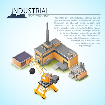 テキストの場所とさまざまな目的のためのクレーンと工場の3d産業セットの概念