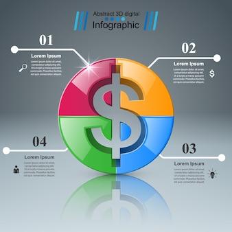3d-инфографический дизайн. значок доллара.