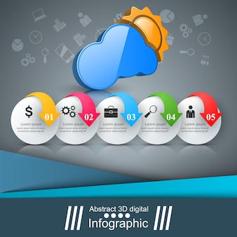 3d infographic 디자인 템플릿 및 마케팅 아이콘