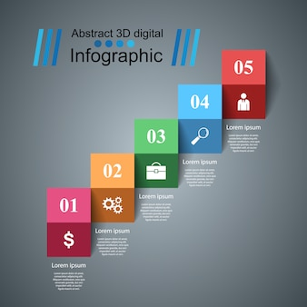 3d infographic design template and marketing icons