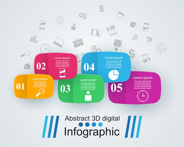 3d infographic design template for marketing