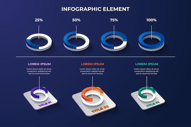 Трехмерная модель круга элемента инфографики с 4 вариантами цвета для представления технологических данных