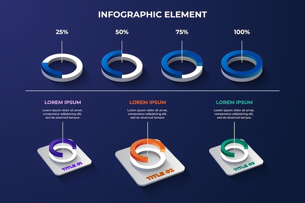 3d infographic element circle shape model with 4 color options for technology data presentation