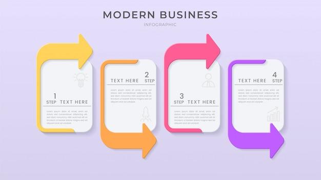 編集可能なテキストとpapercutスタイルの3dインフォグラフィック要素設計組織図プロセステンプレート。