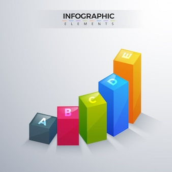 3d infographic element, or graph with five (5) steps .