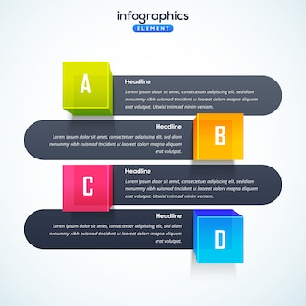 3d infographic element, or graph with four (4) steps.