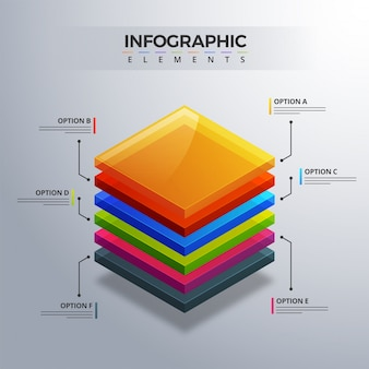 3d infographic element, or graph with six (6) steps .