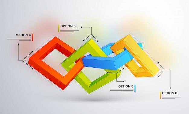 3d-инфографический элемент или график с четырьмя (4) шагами.